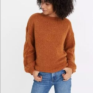MADEWELL Cable-Sleeve Boatneck Sweater Rust S